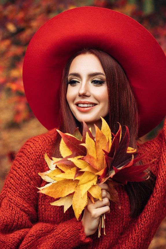 sfeerbeeld model met make up van Malu Wilz tijdens de herfst